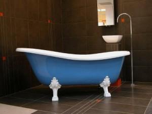 Freistehende Casa Padrino Luxus Badewanne Hellblau / Weiß